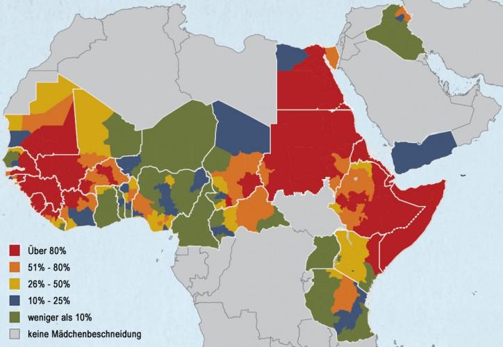 Länder und Regionen nach Anteilen der 15-49-jährigen Mädchen und Frauen, die beschnitten sind.