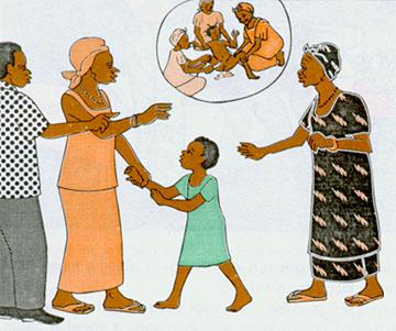 """Die Eltern wollen die Tochter nicht beschneiden lassen, müssen sich aber mit Vorhaltungen der Großmutter auseinandersetzen. (Aus einem Informationsheft der """"Gesellschaft für das Wohlergehen der Familie"""" (ABBEF) in Burkina Faso, das auch in Projekten von Lebenschancen verteilt wurde.)"""