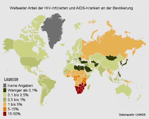 HIV-Infizierte Anteile  weltweit Für Home HIV x150701